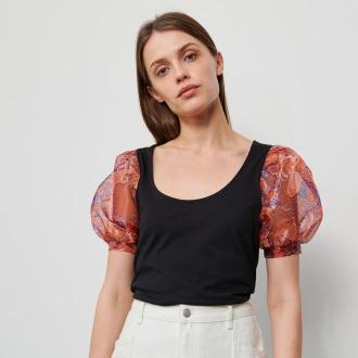 Reserved - Bluzka z bawełny i modalu - Czarny