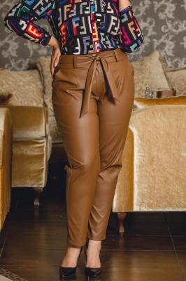 Spodnie ŻANETA eko skóra eleganckie wiązane brązowe PROMOCJA