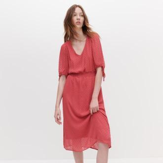 Reserved - Sukienka z tkaniny plumeti - Różowy