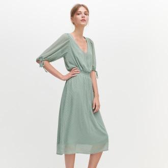 Reserved - Sukienka z tkaniny plumeti - Zielony