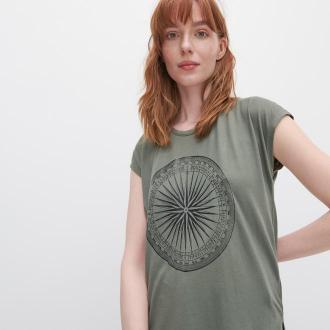 Reserved - T-shirt z nadrukiem - Khaki