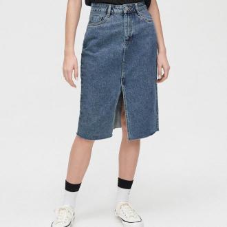 Cropp - Jeansowa spódnica midi z rozcięciem - Niebieski