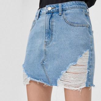 Cropp - Jeansowa spódnica mini - Niebieski