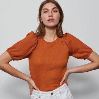 Reserved - Bluzka z bufiastymi rękawami i falbankami - Brązowy