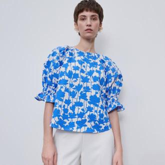 Reserved - Wzorzysta bluzka z bufiastymi rękawami - Wielobarwny