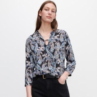 Reserved - Wzorzysta bluzka z wiskozy - Czarny