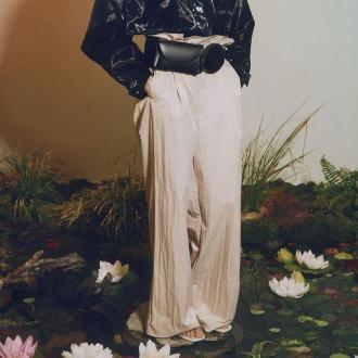 Reserved - Spodnie paper bag - Szary