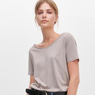 Reserved - T-shirt z bawełny i modalu - Jasny szary