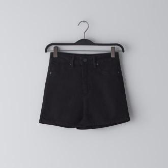 Cropp - Jeansowe szorty high waist - Czarny