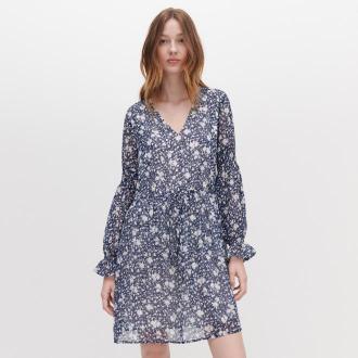 Reserved - Sukienka w kwiaty - Granatowy