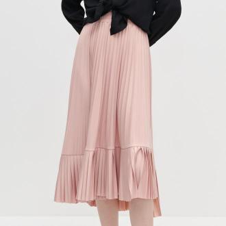 Reserved - Plisowana spódnica z falbaną - Różowy