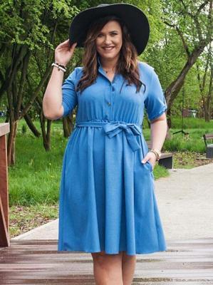 Sukienka do pracy szmizjerka rozkloszowana plus size MARZANNA len jeans