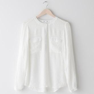 Sinsay - Lekka koszula z kieszeniami - Kremowy