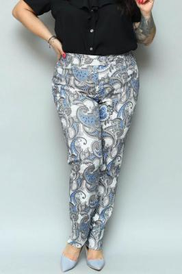 Spodnie eleganckie klasyczne rurki ANNA ecru w orientalne wzory PROMOCJA