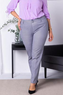 Spodnie eleganckie rurki ANNA granatowo-biała pepitka