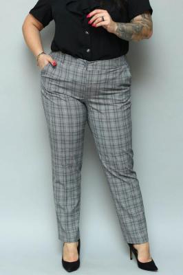 Spodnie eleganckie rurki ANNA szara kratka