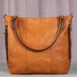 Duża torebka damska na ramię w kolorze brązowym - Torebki