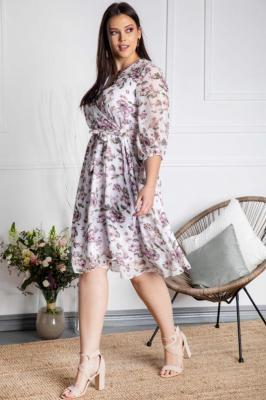 Sukienka szyfonowa kopertowa rozkloszowana plus size NATALY biała w różowe kwiaty i liście PROMOCJA