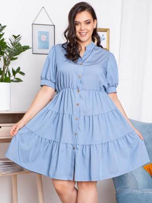 Sukienka szmizjerka rozpinana letnia z falbankami OLENA wiskoza jasny jeans