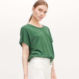 Reserved - Bluzka z prążkowanej dzianiny - Khaki