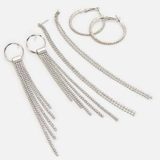 Cropp - Zestaw srebrnych kolczyków - Srebrny