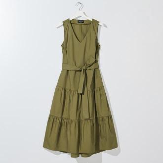 Mohito - Bawełniana sukienka z falbanami - Khaki