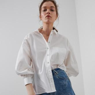 Reserved - Koszula z nadrukiem na plecach - Biały