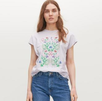 Reserved - T-shirt z nadrukiem - Fioletowy