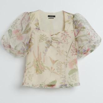 Reserved - Wzorzysta bluzka z organzy - Wielobarwny