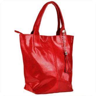 Czerwona torebka shopper skórzana z połyskiem plaster miodu xl