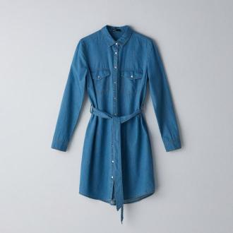 Cropp - Denimowa sukienka mini z paskiem - Niebieski