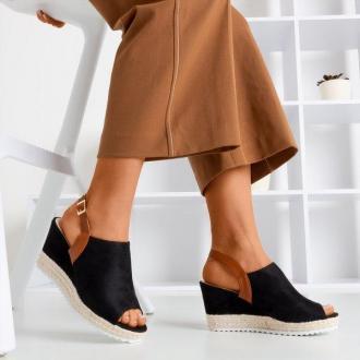 Czarne sandały damskie na koturnie Miltonia - Obuwie
