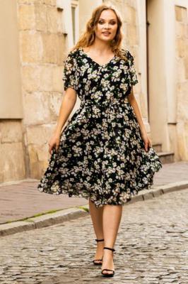 Sukienka rozkloszowana szyfonowa plisowana BARBIE kwiaty na czarnym tle PROMOCJA