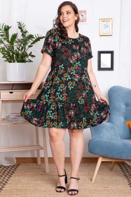 Sukienka letnia marszczona z wiskozy xxl AGNIESZKA czarna w drobne kwiaty i zielone liście PROMOCJA