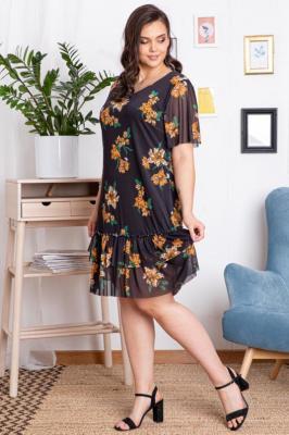Sukienka zwiewna tiulowa falbanki HORTENSJA czarna w kwiaty PROMOCJA