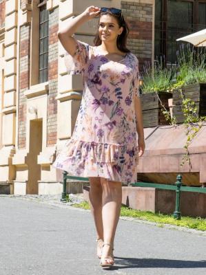 Sukienka na komunie zwiewna tiulowa falbanki HORTENSJA puder róż w kwiaty PROMOCJA