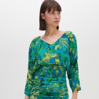 Reserved - Bluzka z roślinnym printem - Wielobarwny