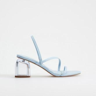 Mohito - Pastelowe sandały na słupku - Niebieski