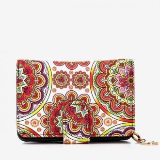 Wzorzysty mały portfel damski w kolorze czerwonym - Portfel