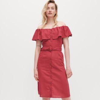 Reserved - Sukienka z odkrytymi ramionami - Różowy