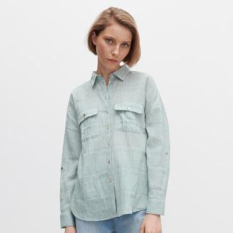 Reserved - Marszczona koszula z kieszeniami - Zielony