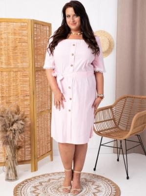Sukienka bawełniana hiszpanka MILI ozdobna koronka biało-różowe paski PROMOCJA