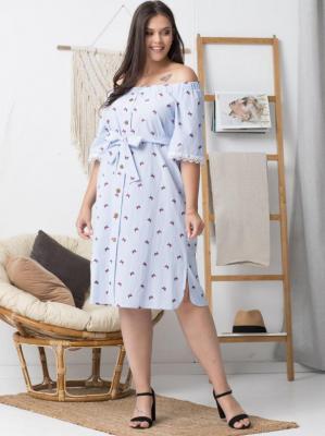 Sukienka letnia hiszpanka MILI ozdobna koronka biało-niebieskie paski i haftowane motyle PROMOCJA