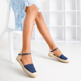 Granatowe sandały typu espadryle z ażurową cholewką Asia - Obuwie