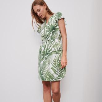 Reserved - Wzorzysta sukienka - Kremowy