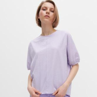 Reserved - T-shirt o pudełkowym fasonie - Fioletowy