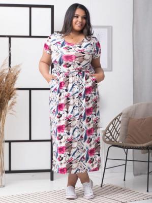 Sukienka long dzianinowa z kieszeniami IWONA ecru w beżowo-różowe kwiaty PROMOCJA