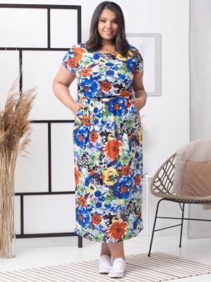 Sukienka letnia long dzianinowa z kieszeniami IWONA print łąka w duże niebieskie kwiaty