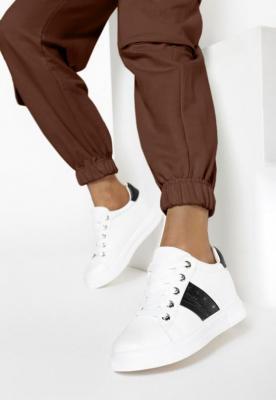 Biało-Czarne Sneakersy Na Ukrytym Koturnie Halisura