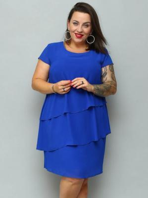 Sukienka trapezowa MARTA szyfonowa z falbankami kobaltowa PROMOCJA